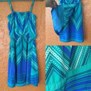 NWOT Express Chevron Teal & Blue Dress